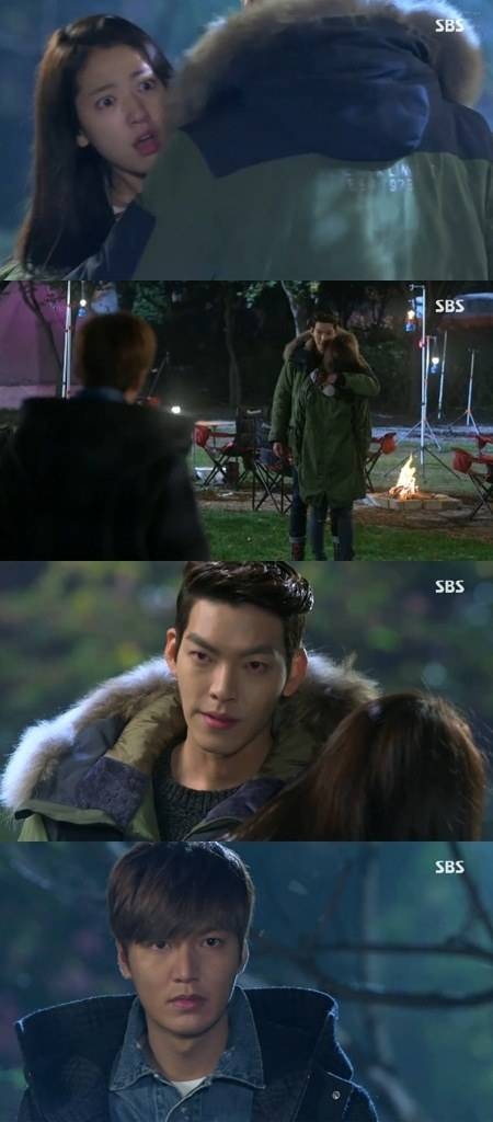 "] ""The Heirs"" Kim Woo-bin hugs Park Shin-hye in front of Lee Min-ho"