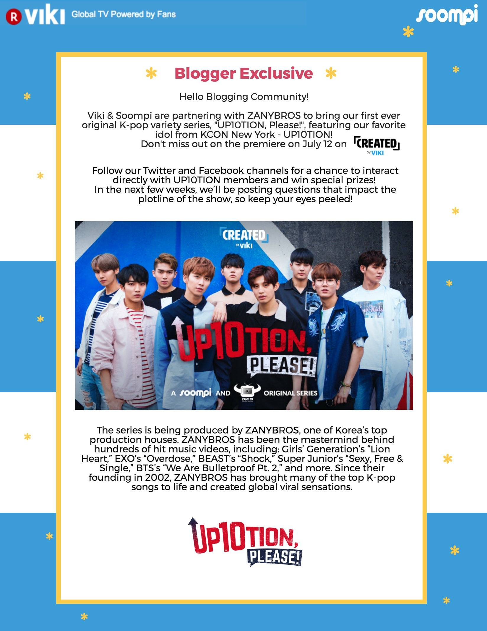 K-Pop Idol UP10TION Debuts in Original Variety Show on