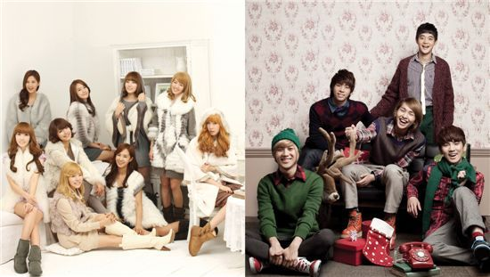 Girls' Generation (left) and SHINee (right) [Danal]. A 2011 calendar