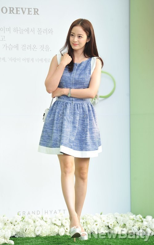 Kim Tae Hee At A Wedding In A Blue Dress Hancinema The Korean