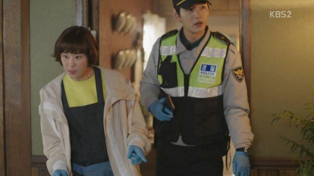 Seol-ok investigating a crime scene