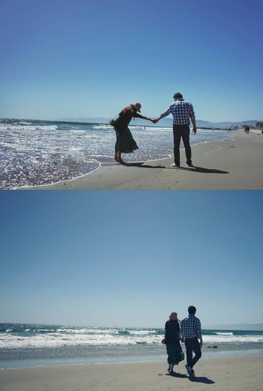 So Yoo-jin and Baek Jong-won walking the beaches of LA
